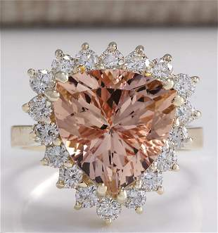 6.27 CTW Natural Peach Morganite And Diamond Ring In