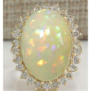 12.51 CTW Natural Ethiopian Opal And Diamond Ring In