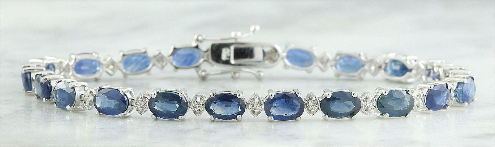 12.15 CTW Sapphire 18K White Gold Diamond Bracelet