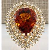 17.40 CTW Natural Madeira Citrine And Diamond Ring 14K