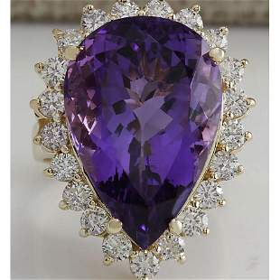 17.67 CTW Natural Amethyst And Diamond Ring In 18K