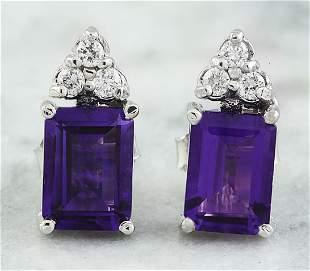 2.65 CTW Amethyst 14K White Gold Diamond Earrings
