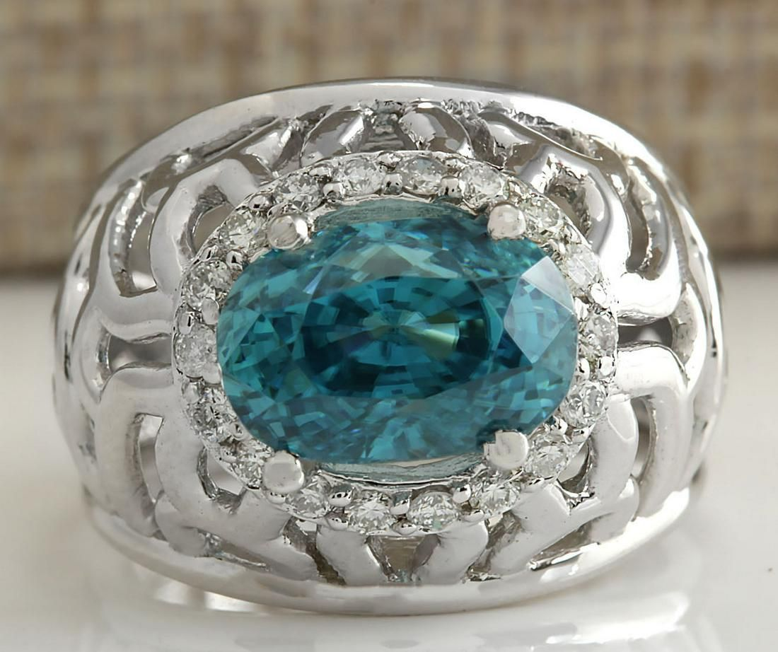 7.45 CTW Natural Blue Zircon And Diamond Ring 18K Solid