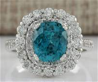 6.54 CTW Natural Blue Zircon And Diamond Ring 18K Solid