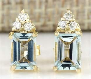 2.65 CTW Natural Aquamarine And Diamond Earrings 14k