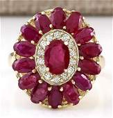 4.42 CTW Natural Ruby And Diamond Ring In 18K Yellow
