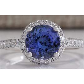 2.17 CTW Natural Blue Tanzanite And Diamond Ring In 14K