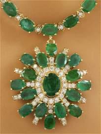 41.20 CTW Emerald 18K yellow Gold Diamond Necklace