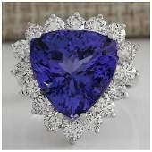 13.87CTW Natural Blue Tanzanite And Diamond Ring 18K