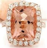 13.63 CTW Natural Morganite 14K Solid Rose Gold Diamond