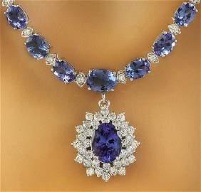 48.77 CTW Tanzanite 14K White Gold Diamond Pendant