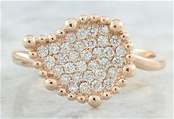 0.40 CTW Diamond 14K Rose Gold Leaf Ring