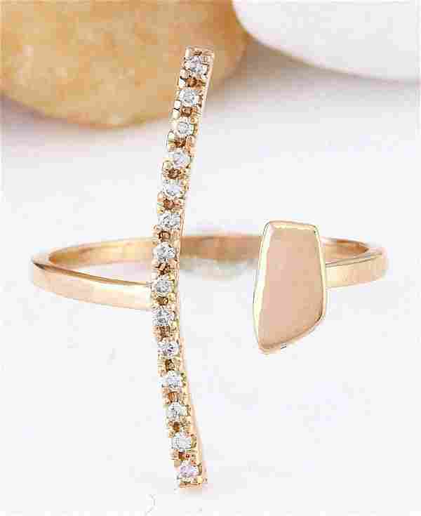 0.12 CTW Natural Diamond 14K Solid Rose Gold Ring