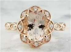 2.77 CTW Morganite 14K Rose Gold Diamond Ring