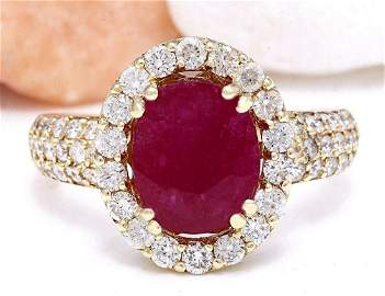 3.98 CTW Natural Ruby 14K Solid Yellow Gold Diamond