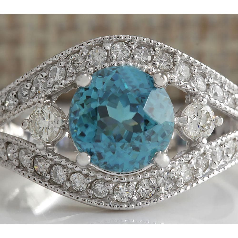 4.16 CTW Natural Blue Zircon And Diamond Ring 18K Solid