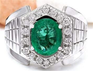 3.30 CTW Natural Emerald 18K Solid White Gold Diamond