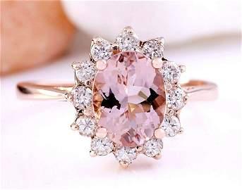 2.05 CTW Natural Morganite 18K Solid Rose Gold Diamond
