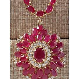 35.62 CTW Natural African Ruby And Diamond Necklace In