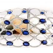 21.97 CTW Natural Sapphire 18K Solid White Gold