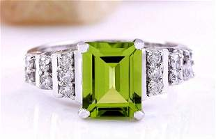3.05 CTW Natural Peridot 18K Solid White Gold Diamond