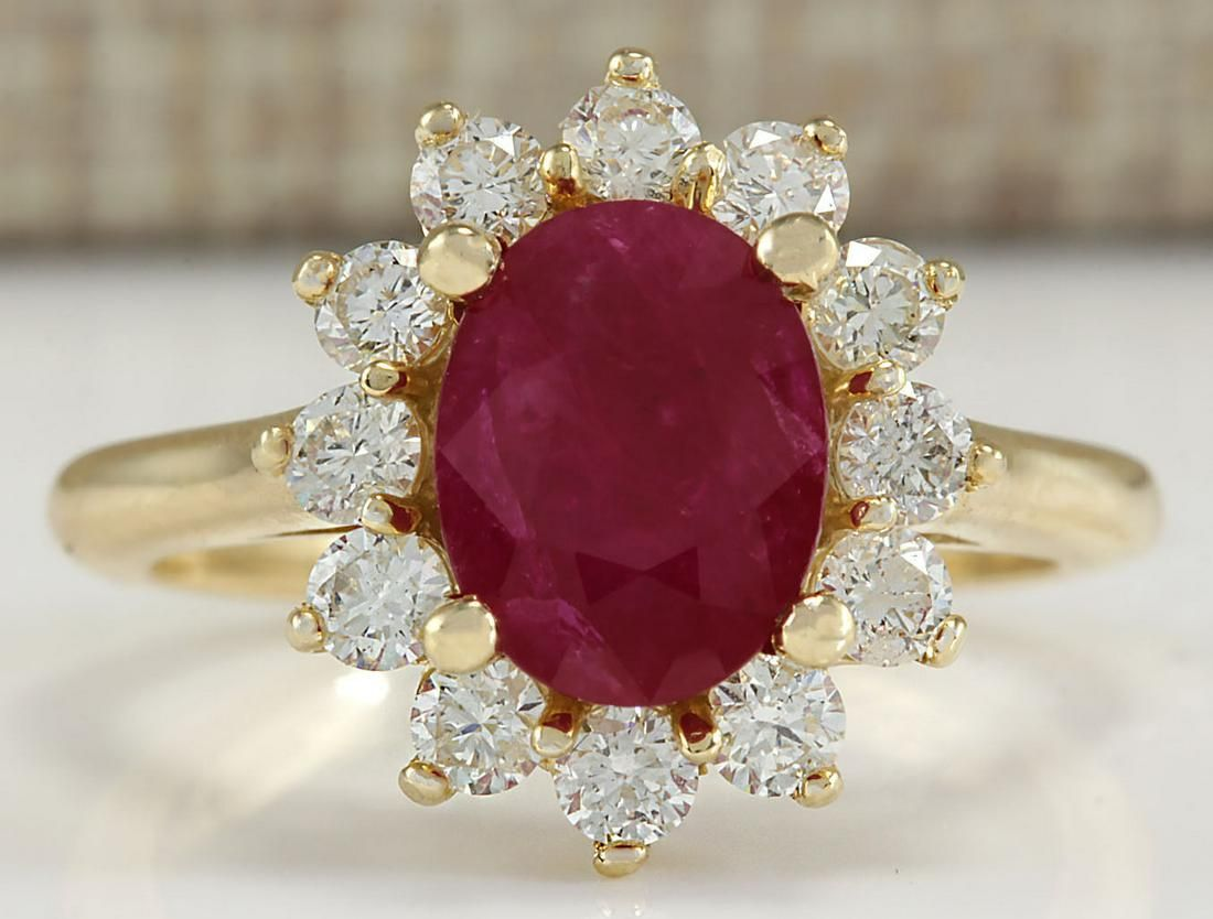 3.57 CTW Natural Ruby And Diamond Ring 14K Solid Yellow