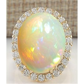 15.88 CTW Natural Opal And Diamond Ring 14K Solid