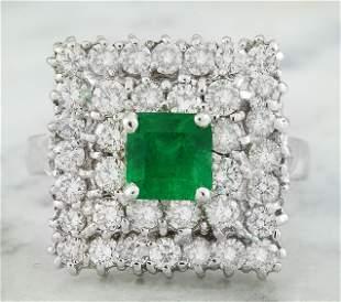 2.60 CTW Emerald 14K White Gold Diamond Ring