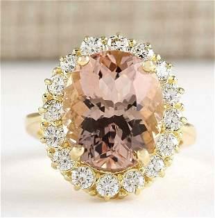 8.85 CTW Natural Morganite And Diamond Ring In 14k