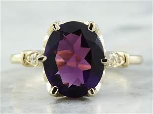 3.41 CTW Amethyst 18K Yellow Gold Diamond Ring