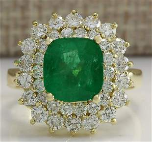 4.34 CTW Natural Emerald And Diamond Ring 18K Solid
