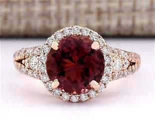 3.49 CTW Natural Pink Tourmaline And Diamond Ring 14k