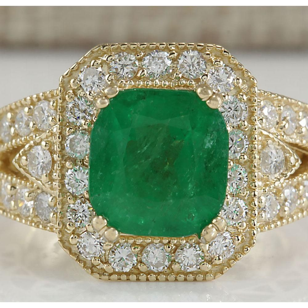 3.84 CTW Natural Emerald And Diamond Ring 18K Solid