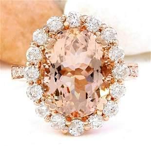 6.82 CTW Natural Morganite 18K Solid Rose Gold Diamond