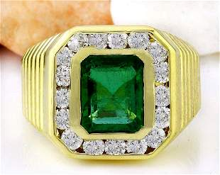 3.57 CTW Natural Emerald 18K Solid Yellow Gold Diamond