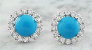 3.65 CTW Turquoise 14K White Gold Diamond Earrings