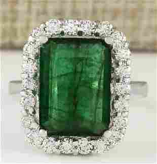 5.95 CTW Natural Emerald And Diamond Ring In 14k Solid