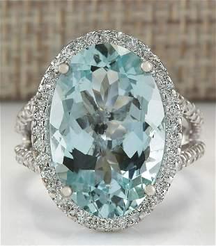 9.54 CTW Natural Blue Aquamarine Diamond Ring 18K Solid