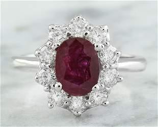 2.81 CTW Ruby 18K White Gold Diamond Ring