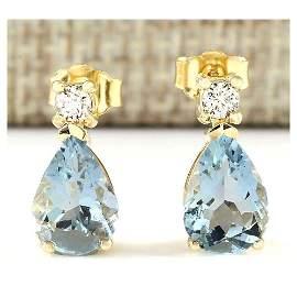 3.52 CTW Natural Aquamarine And Diamond Earrings 18K