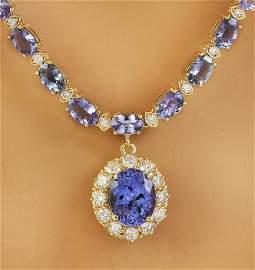 42.87 CTW Tanzanite 14K Yellow Gold Diamond Necklace