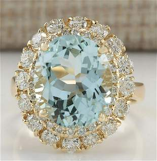7.53 CTW Natural Aquamarine And Diamond Ring In 18K