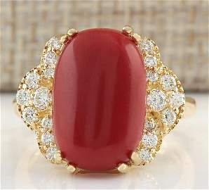 7.50CTW Natural Coral And Diamond Ring In 14K Yellow