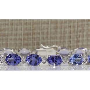 23.35 CTW Natural Tanzanite And Dimond Bracelet In 14k