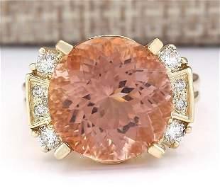 10.28 CTW Natural Morganite And Diamond Ring In 18K