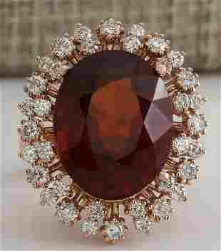 17.99 CTW Natural Hessonite Garnet And Diamond Ring 14K