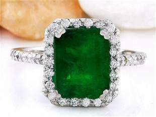 4.18 CTW Natural Emerald 18K Solid White Gold Diamond