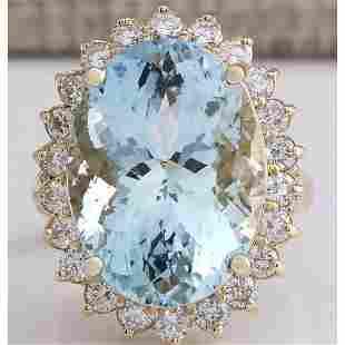5.78CTW Natural Aquamarine And Diamond Ring In 18K