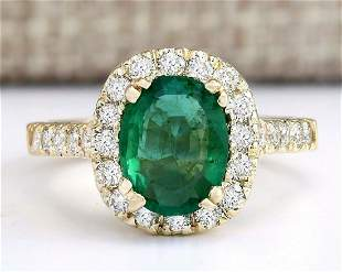 2.31 CTW Natural Emerald And Diamond Ring In 14k Yellow