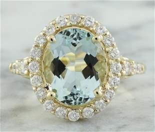 3.81 CTW Aquamarine 14K Yellow Gold Diamond Ring